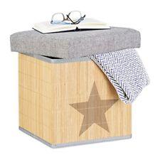 Relaxdays Tabouret de Rangement pliant Cube avec Couvercle 36 cm Bambou Gris ...