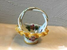 Hand Painted Porcelain Basket With Braided Handle Made In Portugal
