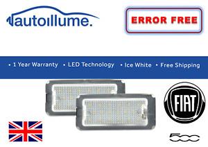 Fiat 500 500C 312 Abarth 595 LED Number Plate Licence Light White Error Free 07+
