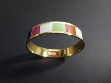 "Coach Bangle Legacy Signature Bracelet Multicolored Stripes Gold-Tone 1/2"" Thick"