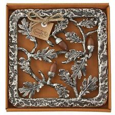 Mud Pie Acorn Trivet Hot Plate, Metal and Wood, Thanksgiving Decor Table