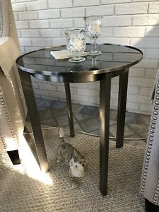 TABLE by CALVIN KLEIN HOME FURNITURE BRUSH NICKLE & BLACK GLASS TOP- NEW