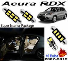 10 Bulbs Super White 5630 LED Interior Dome Light Kit For Acura RDX 2007-2012
