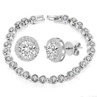 """Steel by Design Halo Stud Earring Clear Crystal Tennis 7.8"""" Bracelet ITALY MADE"""