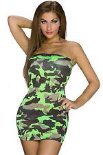 Mini Abito Aderente Nudo Trasparente Scollo Camouflage Mini club dress clubwear