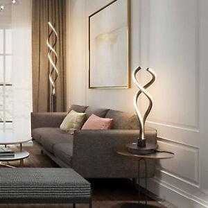 Modern LED Spiral Table Lamp Bedside Desk Decoration Room Curved Light Black