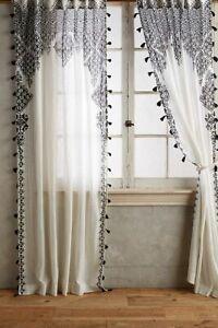 "PAIR (2) 50x63"" Anthropologie White Black Adalet Curtain Morroccan Tasseled NWT"
