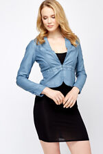 Womens Leather Peplum Cropped Lapel Blue Coral Beige Pleated Hem Jacket S M L XL