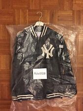 Supreme NewYork Yankees 47 brand LEATHER VARSITY JACKET 2015SS NAVY DS NEW