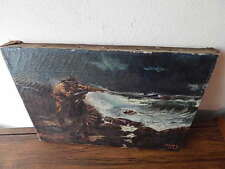 1928 UNFRAMED 14 IN X 10 IN SIGNED IRENE L OIL ON CANVAS NAUTICAL PAINTING INTNL