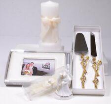 (5) Wedding Rhinestone Rose Ivory/Cream: Cake Serving Set Unity Candle Garter