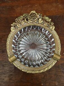 Vintage Matson 24kt Gold Plated Ormulu & Glass Vanity Trinket Ashtray Dish Roses