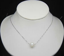 AAA 10-11 mm natural south China sea pearl pendant necklace Silver chain