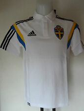SWEDEN FOOTBALL S/S  WHITE POLO SHIRT BY ADIDAS SIZE ADULTS LARGE BRAND NEW