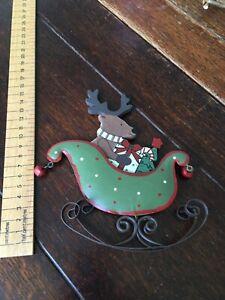 Metal & Wood Reindeer Sleigh Christmas Decoration
