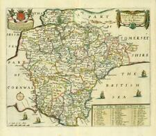 1673 1st ISSUE Map of DEVONSHIRE 'A MAPP OF DEVONSHIRE' by Richard Blome