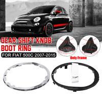 For Fiat 500C Gear Stick Lever Gaiter Boot Cover Frame Retaining Ring Trim Set