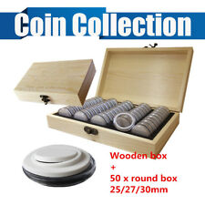 1X Wooden Display Storage Box Container Capsule Case + 50X Round Coins Holder