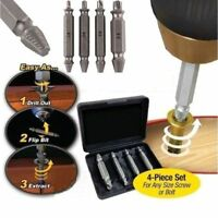4PCS Remover Speed Out Set Damaged Screw Extractor Bolt Bits Guide Tool Drill LN