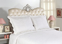 ALL FOR YOU 2-Piece Embroidered Quilted Pillow shams-standard size White, off