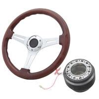Fit VW 350MM Wood Gain Style Chrome Spokes Steering Wheel+Hub Adaptor JDM