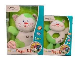Mabyland Plush Kitty Toy and Rattle, Suitable from 3+ mths Gift Present Baby NEW