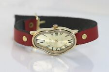 Salvador Dali Melting Time Watch Fluid Wavy Softwatch Ladies Leather wrap watch