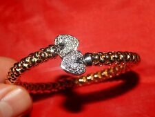 ITALIAN 14K SOLID YELLOW GOLD DIAMOND FLEX BANGLE CUFF BRACLET  LINK SIZE 7.6in