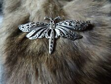 VINTAGE STERLING SILVER, MARCASITE & GARNET SET MOTH, MAYFLY, BUTTERFLY UNUSUAL
