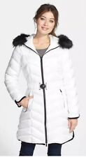 Dawn Levy Natashia Faux Fur Trim Hooded Down White Coat Size XS