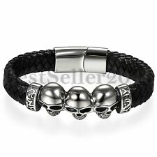 Black Leather Braided Skull Stainless Steel Magnetic Bracelet Biker Men Bangle