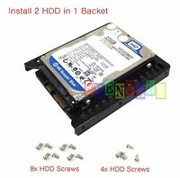 """Mount Two 2.5"""" SSD Hard Drive to 3.5"""" Bay HDD Mounting Bracket Adapter Dock Tray"""