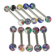 Paquete De 10 piezas de fantasía Multi Color Mármol UV Bola Piercing Joyería