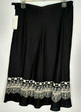 NWT Rafaella Linen Skirt Women's Size 8 Black Mid Knee Length