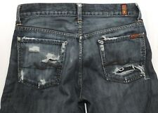 7 Seven For All Mankind Button Fly 30 x 32 Mens Jeans Relaxed Distressed Worn