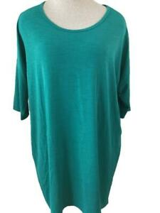 Lularoe Irma top size M teal green hi lo tunic short sleeve extra long oversize
