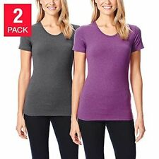 Womens 32 Degree Short Sleeve Tee Sz M Pack of 2 Gray Purple Base Layer 8-10 NWT