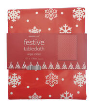 """Red Snowflake Christmas Pvc/Wipeable Tablecloth 137cms x 178cms (54"""" x 70"""")"""