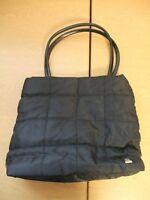 """Ladies Handbag Lancome black quilted textile 12x11x4""""+ faux leather handles 3448"""