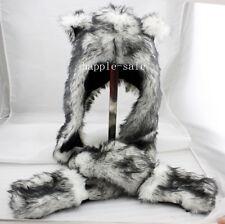 Unisex Faux Fur HUSKY Animal Hood Hoodie Hat 3 in 1 Scarf Pocket Hat X'mas Gift