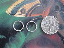 18g 10mm Nose Rings / Ear Rings Pair of Silver Endless Hoops