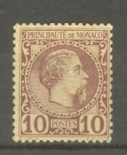 "MONACO STAMP TIMBRE N°4 ""PRINCE CHARLES III 10c LILAS-BRUN SUR JAUNE"" NEUF xxTTB"