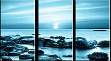 LARGE SEASCAPE CANVAS ART BLUE SCENIC 3 PANEL TRIPTYCH