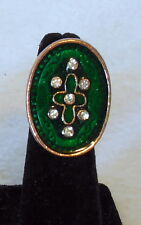 Green Enamel Oval clear RHINESTONE adjustable COCKTAIL RING copper tone