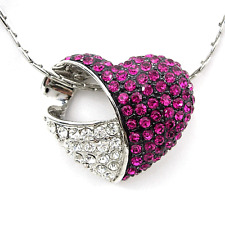 18K White Gold-Plated Purple & White Heart USE Austria Crystal Necklace