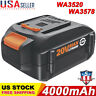 New for WORX WA3520 20V Lithium Battery WA3525 WA3575 WA3578 WG155s MAX 4000mAH