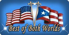 "Puerto Rico USA Unity Flag Decal Bumper Sticker Personalize 4""x 8"" Any Text Blue"