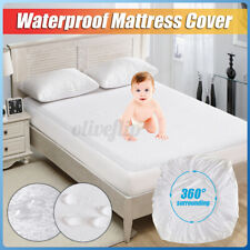 NEW Waterproof Mattress Protector Matress Fitted Cotton Soft Bedding Cover Whi