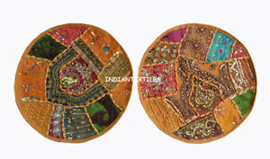 Ethnic Indian Handmade Cotton Set-2 Cushion Cover Round Pillow Cover Zari Work