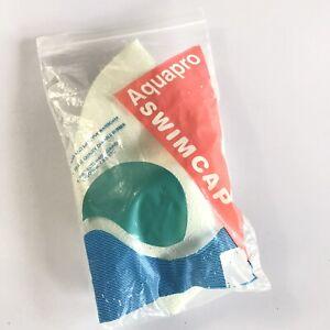 AquaPro swim cap vintage rubber chin strap bathing in bag cream synchronized